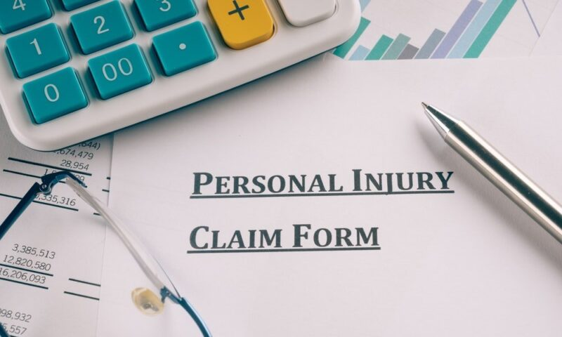 Filling up personal injury claim form.